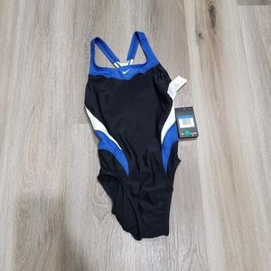 Nike swimsuit one piece blue black and white 4
